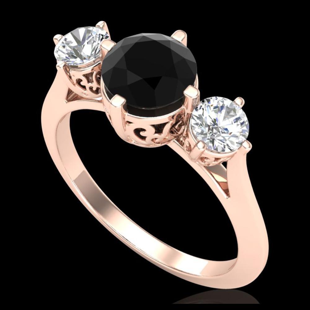 1.51 ctw Fancy Black Diamond Art Deco 3 Stone Ring 18K Rose Gold - REF-134F5N - SKU:38081