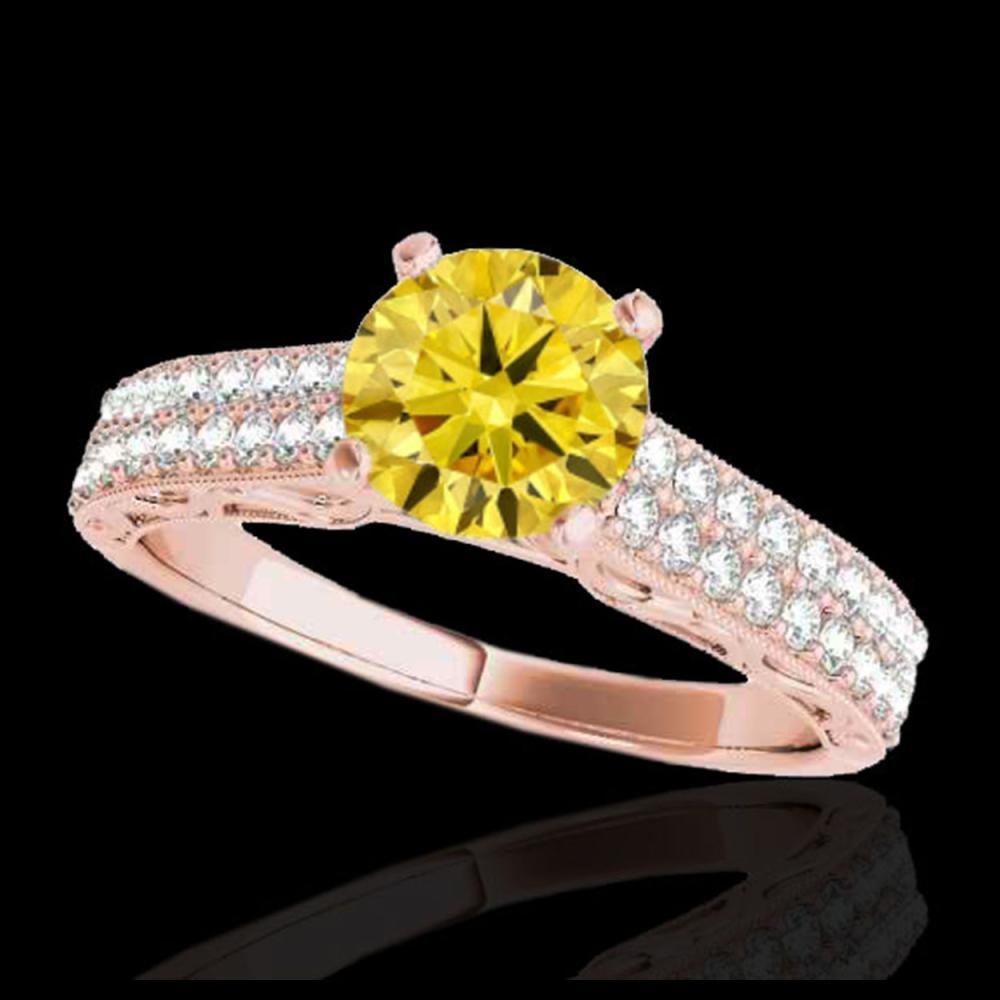 1.91 ctw SI Intense Yellow Diamond Ring 10K Rose Gold - REF-226N4A - SKU:34710