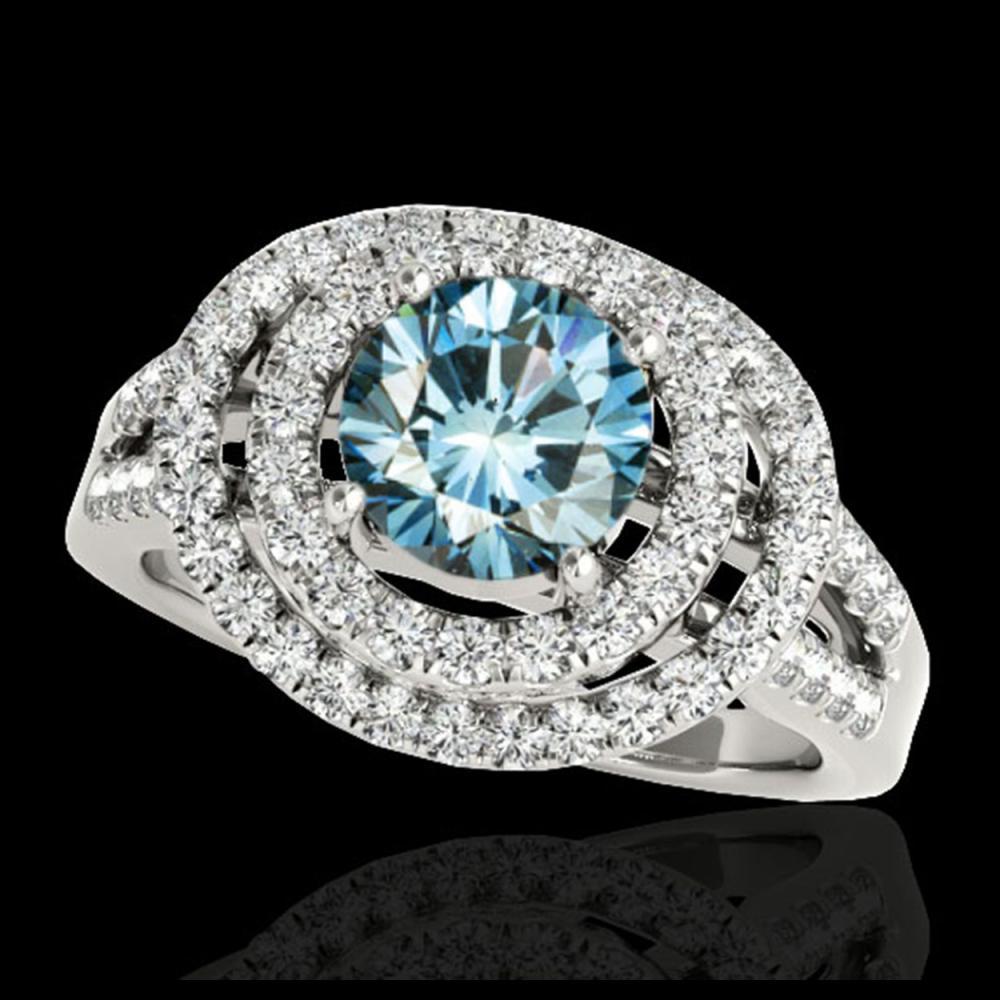 1.75 ctw SI Fancy Blue Diamond Halo Ring 10K White Gold - REF-135Y2X - SKU:34288