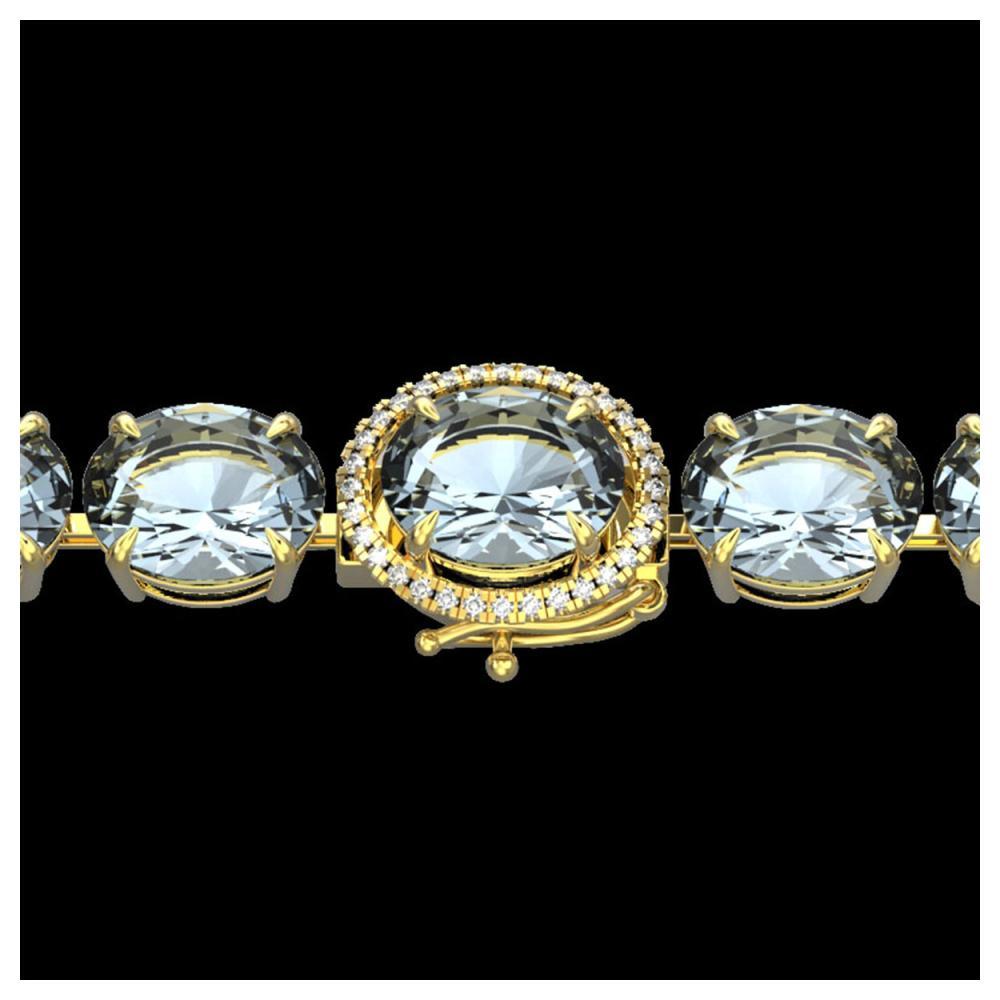 79 ctw Sky Blue Topaz & Diamond Bracelet 14K Yellow Gold - REF-229H3M - SKU:22284
