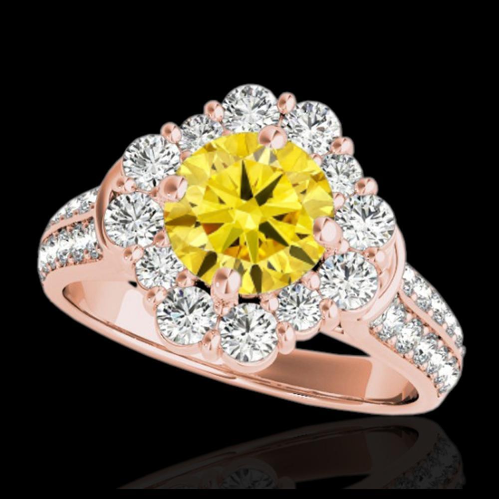 2.16 ctw SI/I Fancy Intense Yellow Diamond Ring 10K Rose Gold - REF-166F4N - SKU:33957