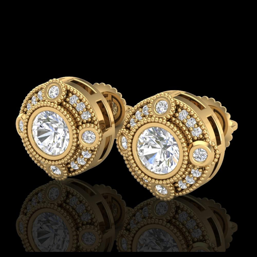1.50 ctw VS/SI Diamond Solitaire Art Deco Stud Earrings 18K Yellow Gold - REF-263Y6X - SKU:36982