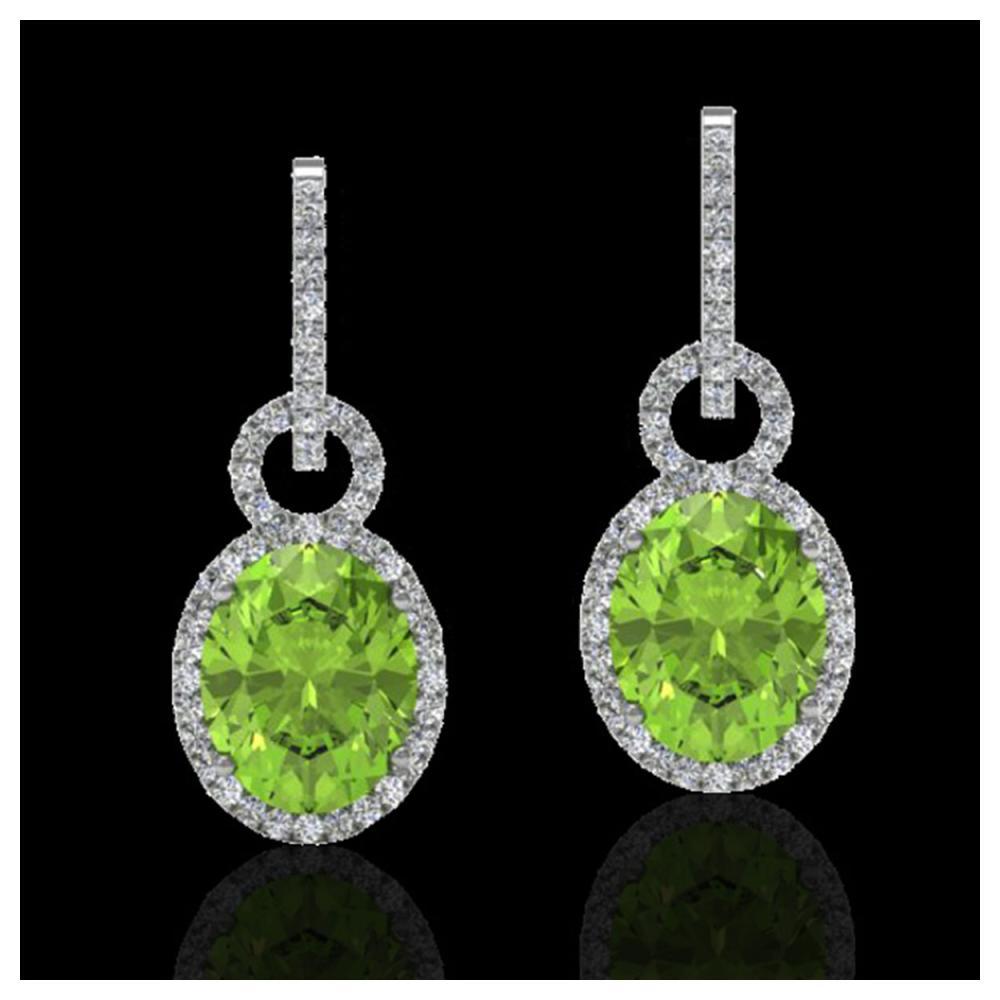 6 ctw Peridot & Halo VS/SI Diamond Earrings 14K White Gold - REF-104F4N - SKU:22741
