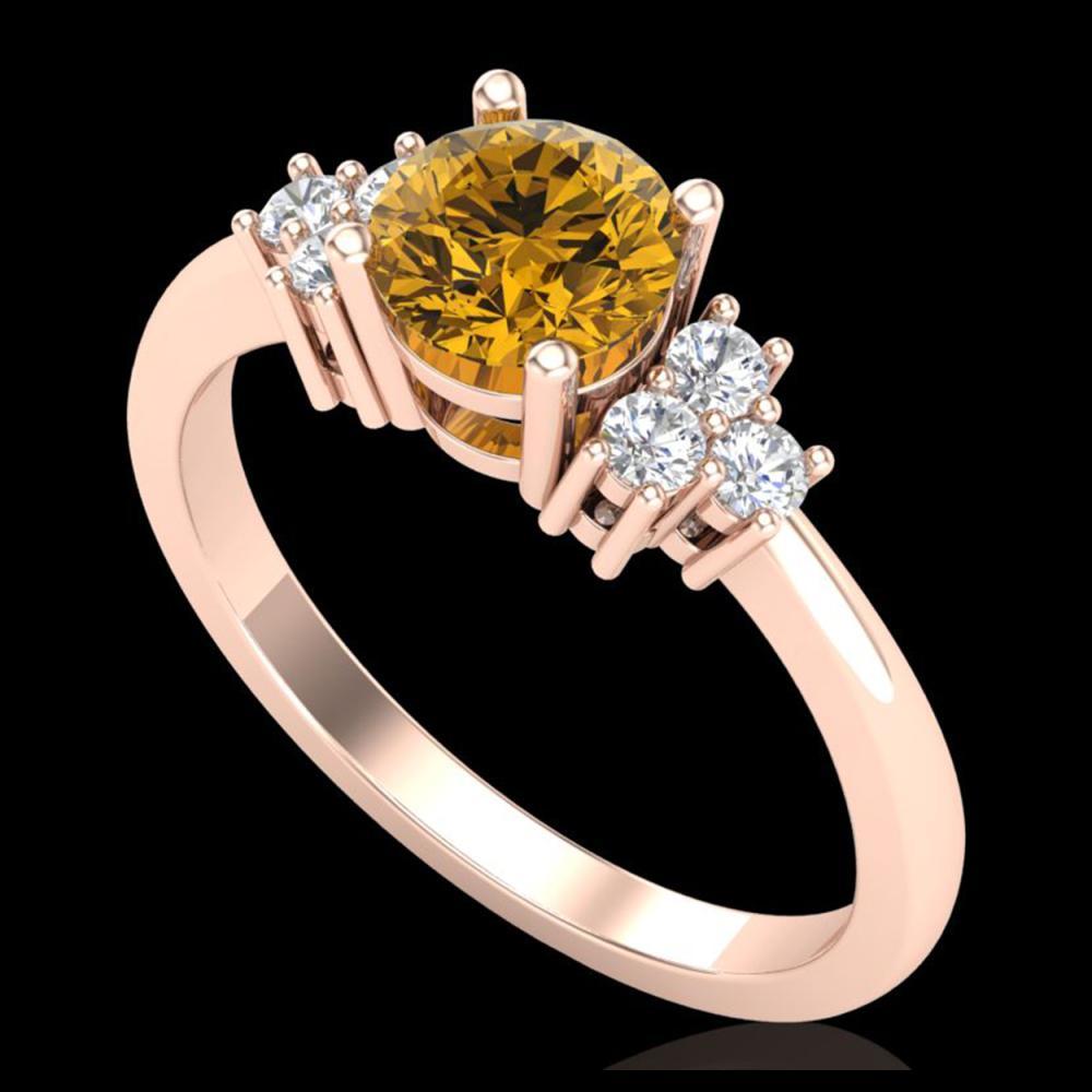 1 ctw Intense Fancy Yellow Diamond Ring 18K Rose Gold - REF-200R2K - SKU:37596