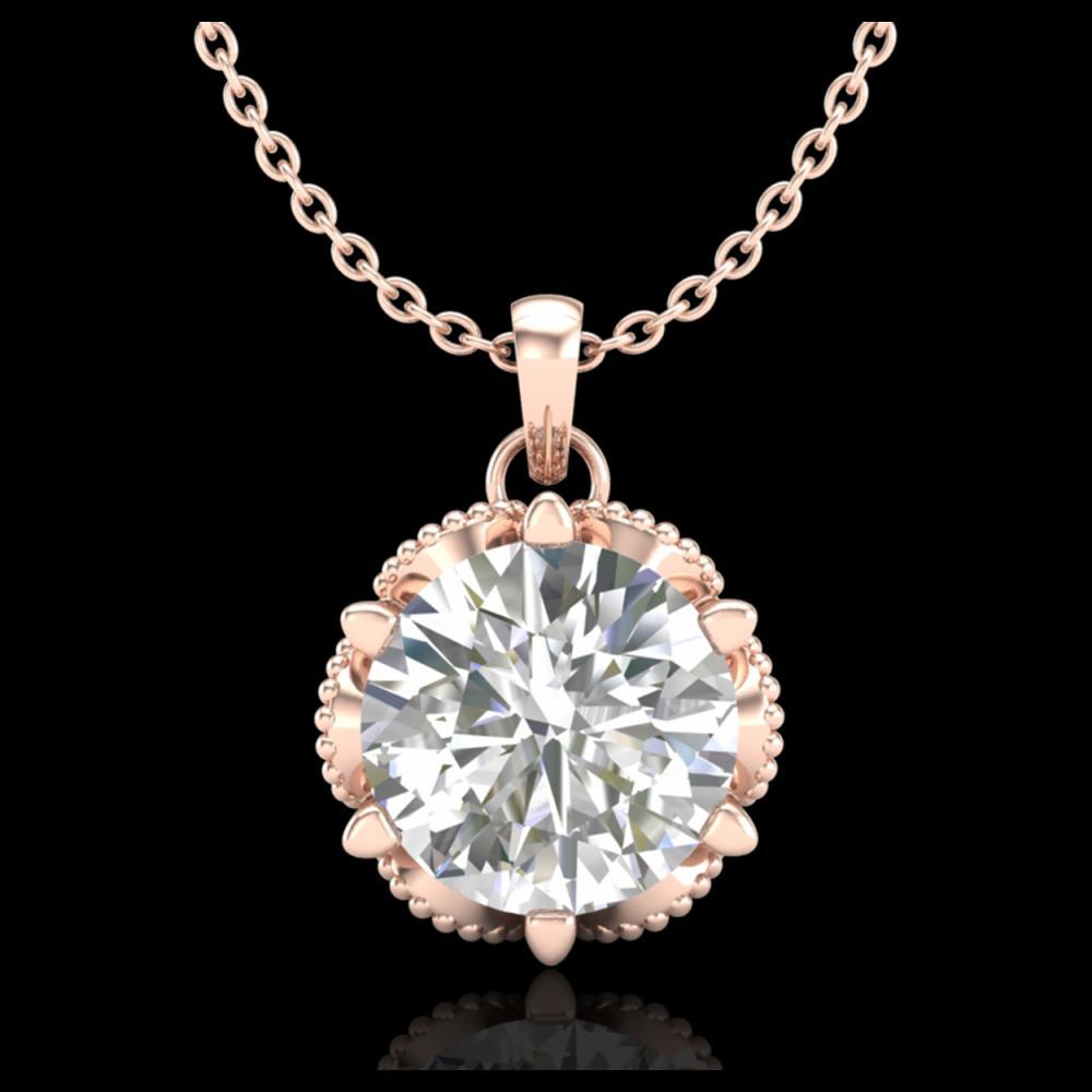 1.36 ctw VS/SI Diamond Solitaire Art Deco Necklace 18K Rose Gold - REF-361A8V - SKU:37245