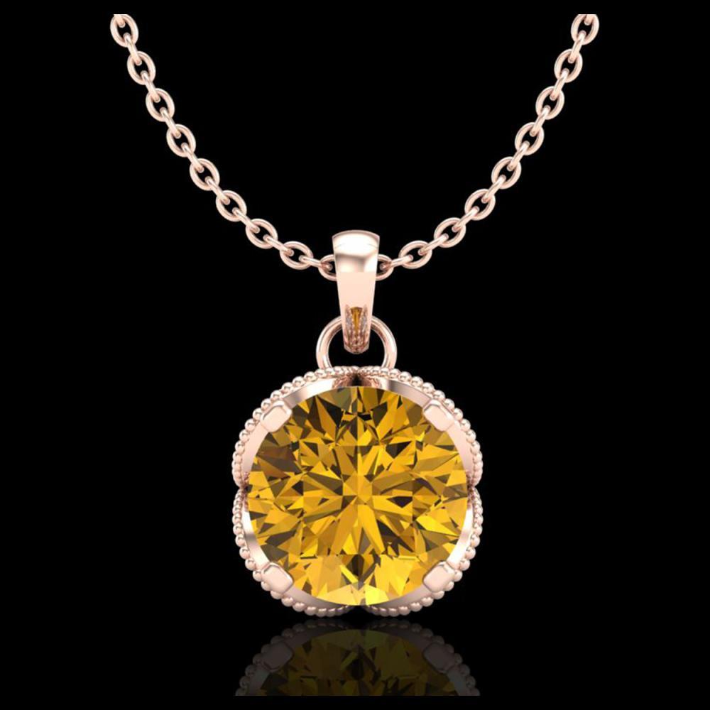 1.13 ctw Intense Fancy Yellow Diamond Art Deco Necklace 18K Rose Gold - REF-136W4H - SKU:37428