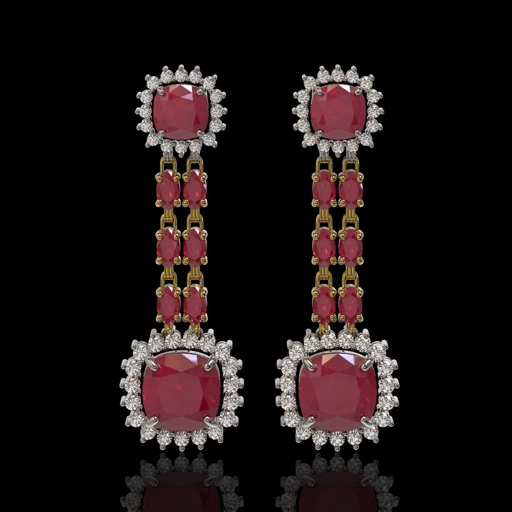 19.88 ctw Ruby & Diamond Earrings 14K Yellow Gold - REF-279H6M - SKU:44914