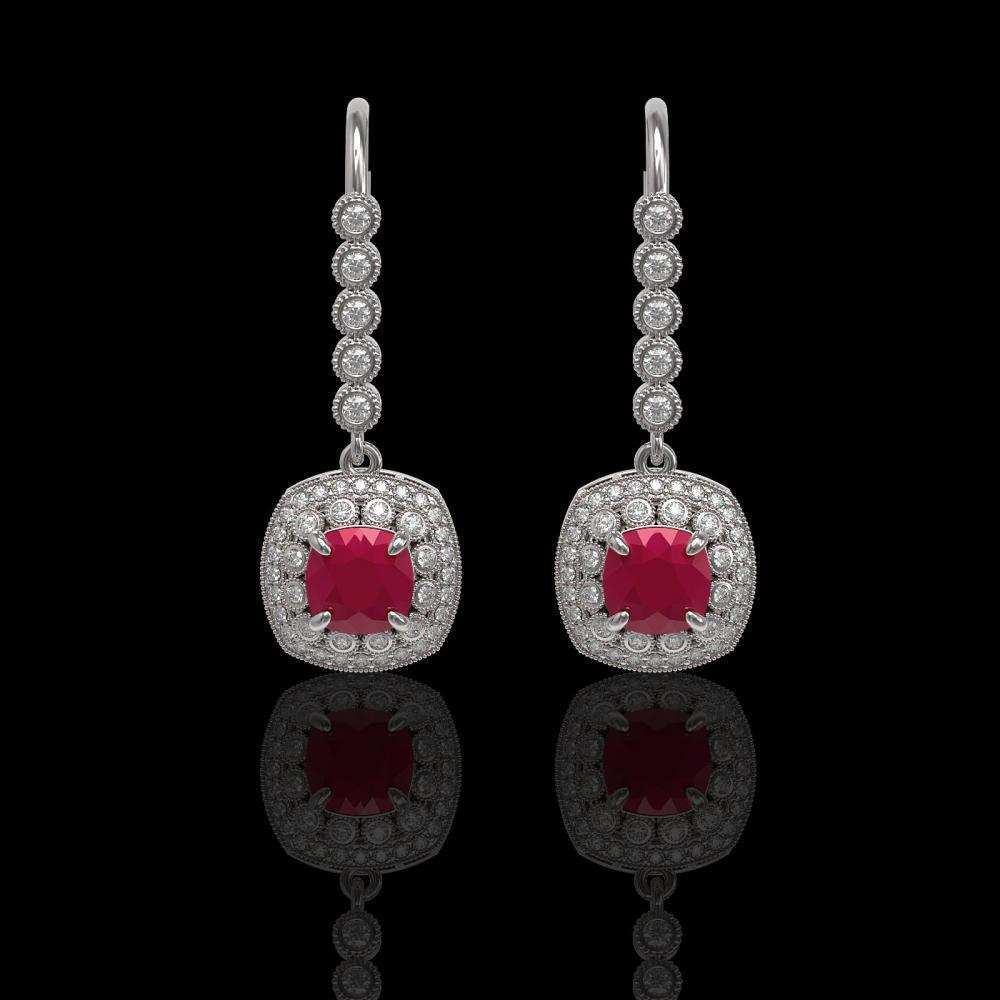 5.1 ctw Ruby & Diamond Earrings 14K White Gold - REF-140M5F - SKU:44051
