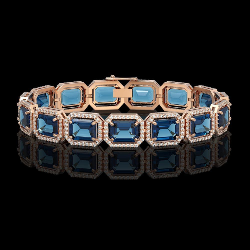 35.61 ctw London Topaz & Diamond Halo Bracelet 10K Rose Gold - REF-337K3W - SKU:41559