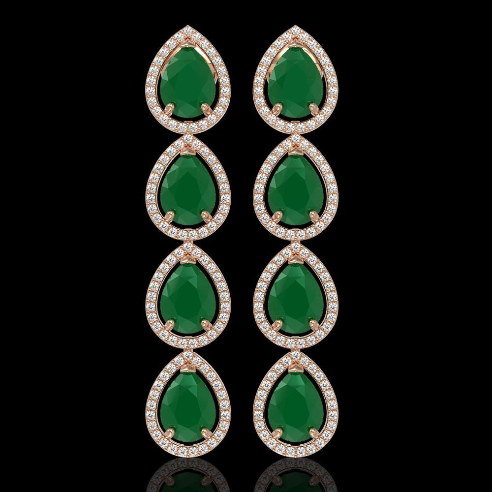 16.01 ctw Emerald & Diamond Halo Earrings 10K Rose Gold - REF-236Y4X - SKU:41283