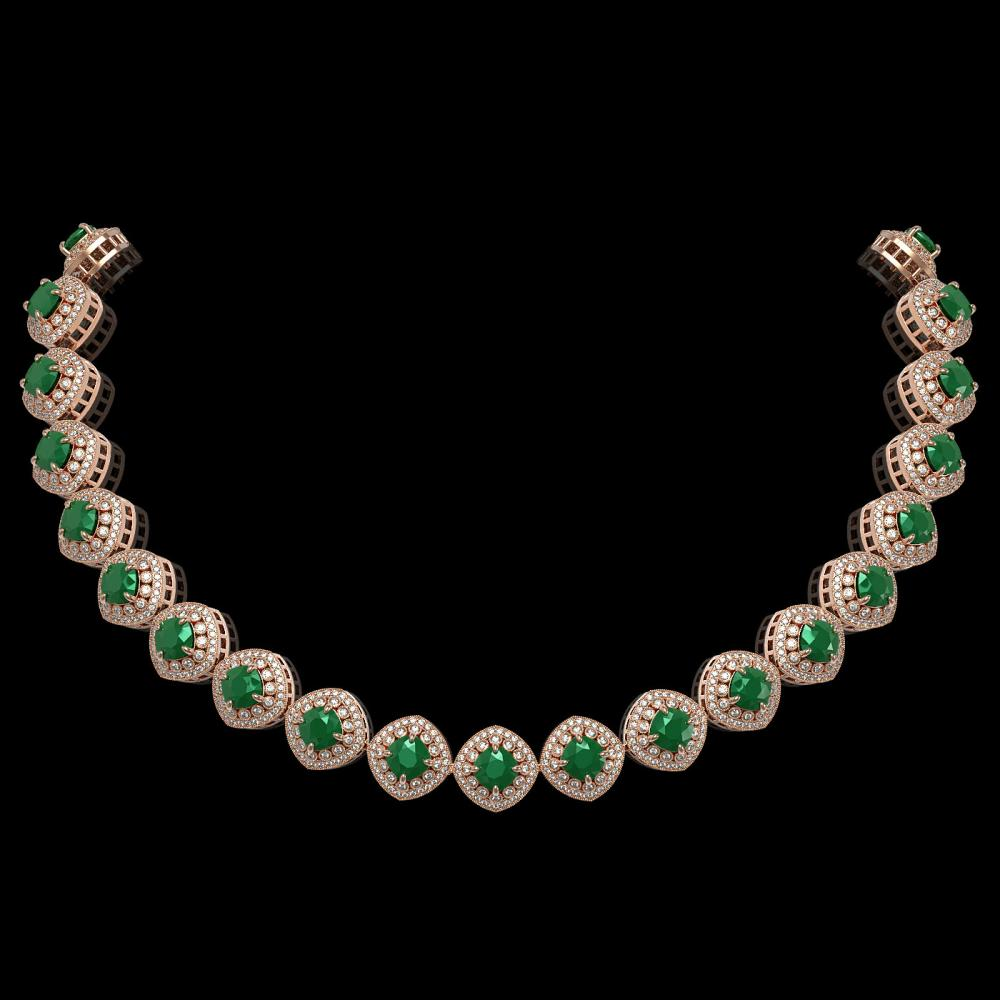82.17 ctw Emerald & Diamond Necklace 14K Rose Gold - REF-2115W8H - SKU:44097