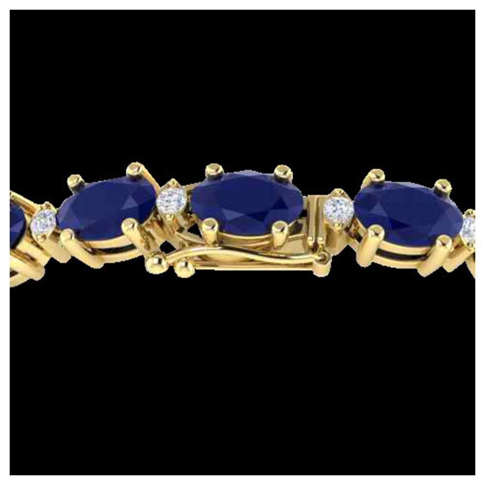 15 ctw Sapphire & VS/SI Diamond Eternity Bracelet 10K Yellow Gold - REF-122A7V - SKU:21460