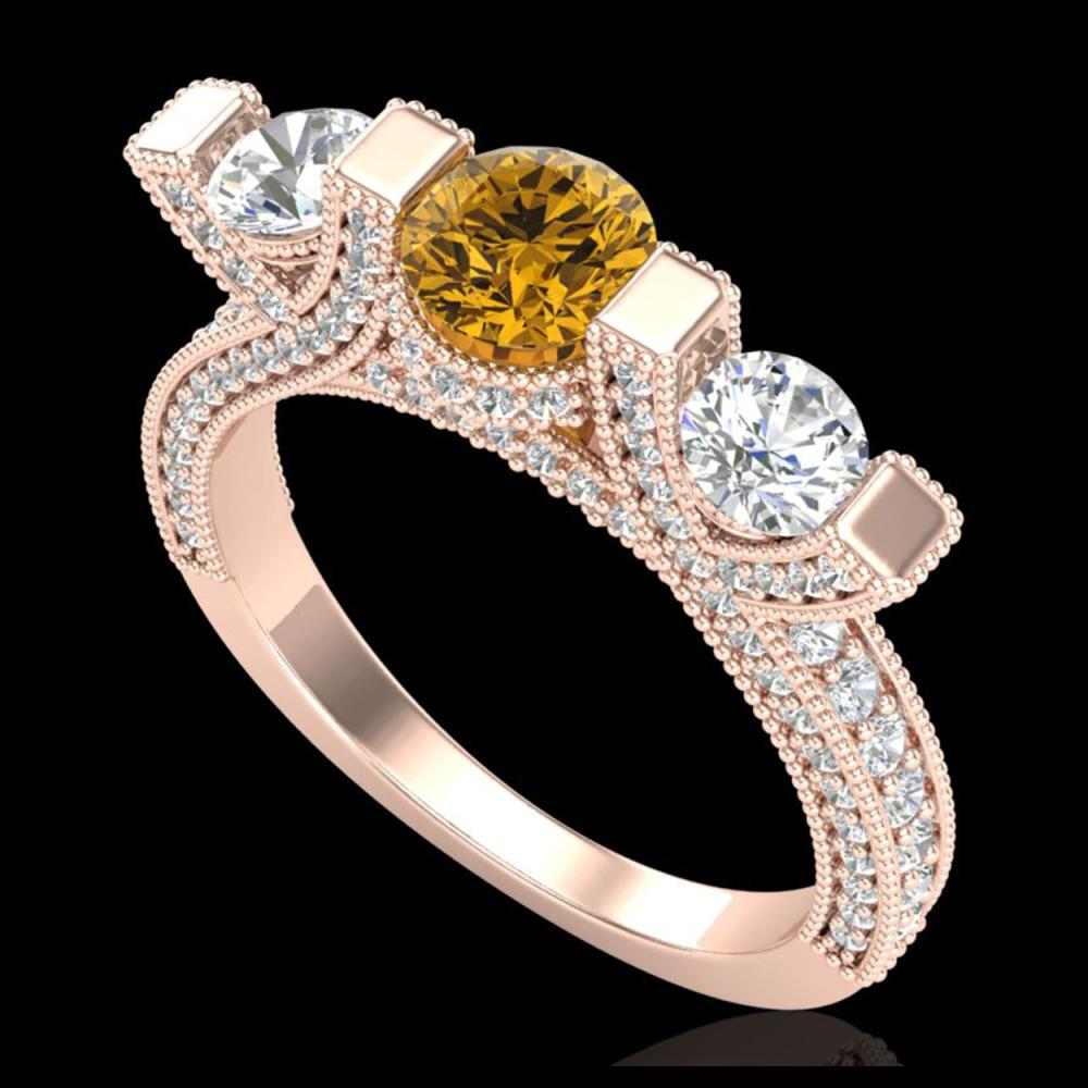 2.3 ctw Intense Fancy Yellow Diamond Ring 18K Rose Gold - REF-236H4M - SKU:37645