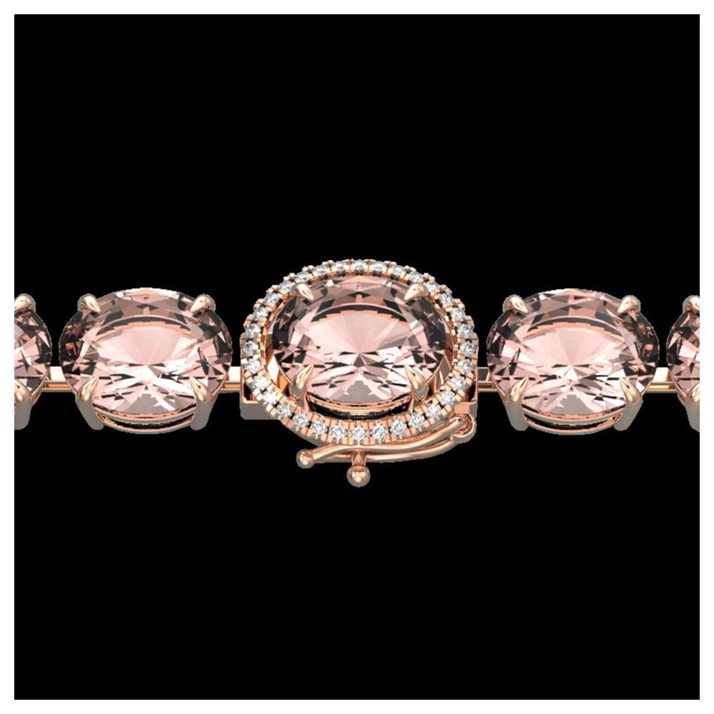 67 ctw Morganite & Diamond Bracelet 14K Rose Gold - REF-763V6Y - SKU:22268