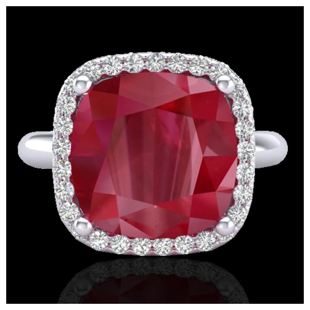 6 ctw Ruby & VS/SI Diamond Ring 18K White Gold - REF-77R3K - SKU:23102