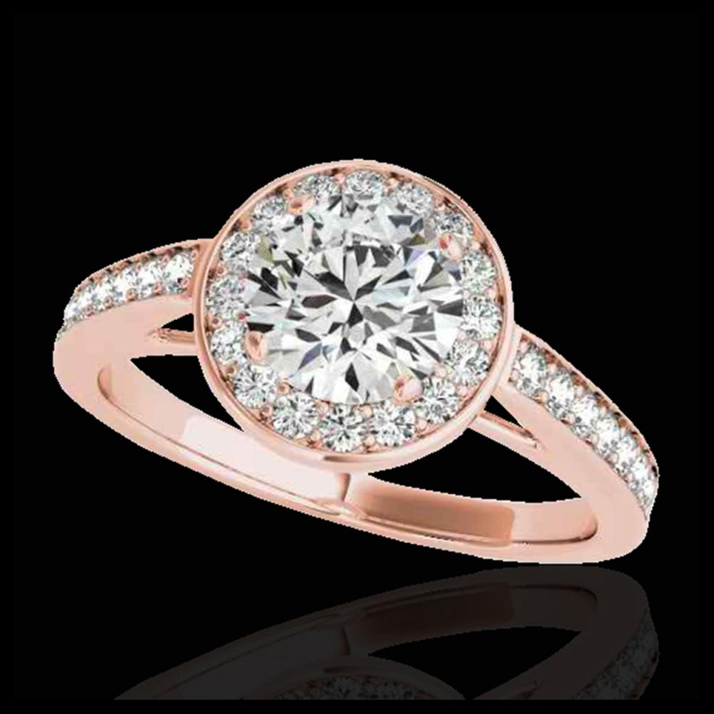 1.45 ctw H-SI/I Diamond Solitaire Halo Ring 10K Rose Gold - REF-197N7A - SKU:33797