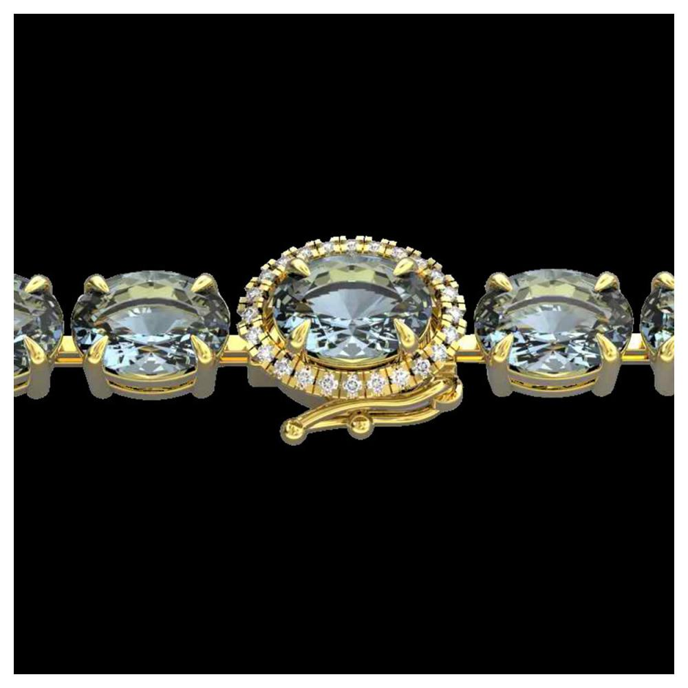 36 ctw Sky Blue Topaz & VS/SI Diamond Bracelet 14K Yellow Gold - REF-115N8A - SKU:23445