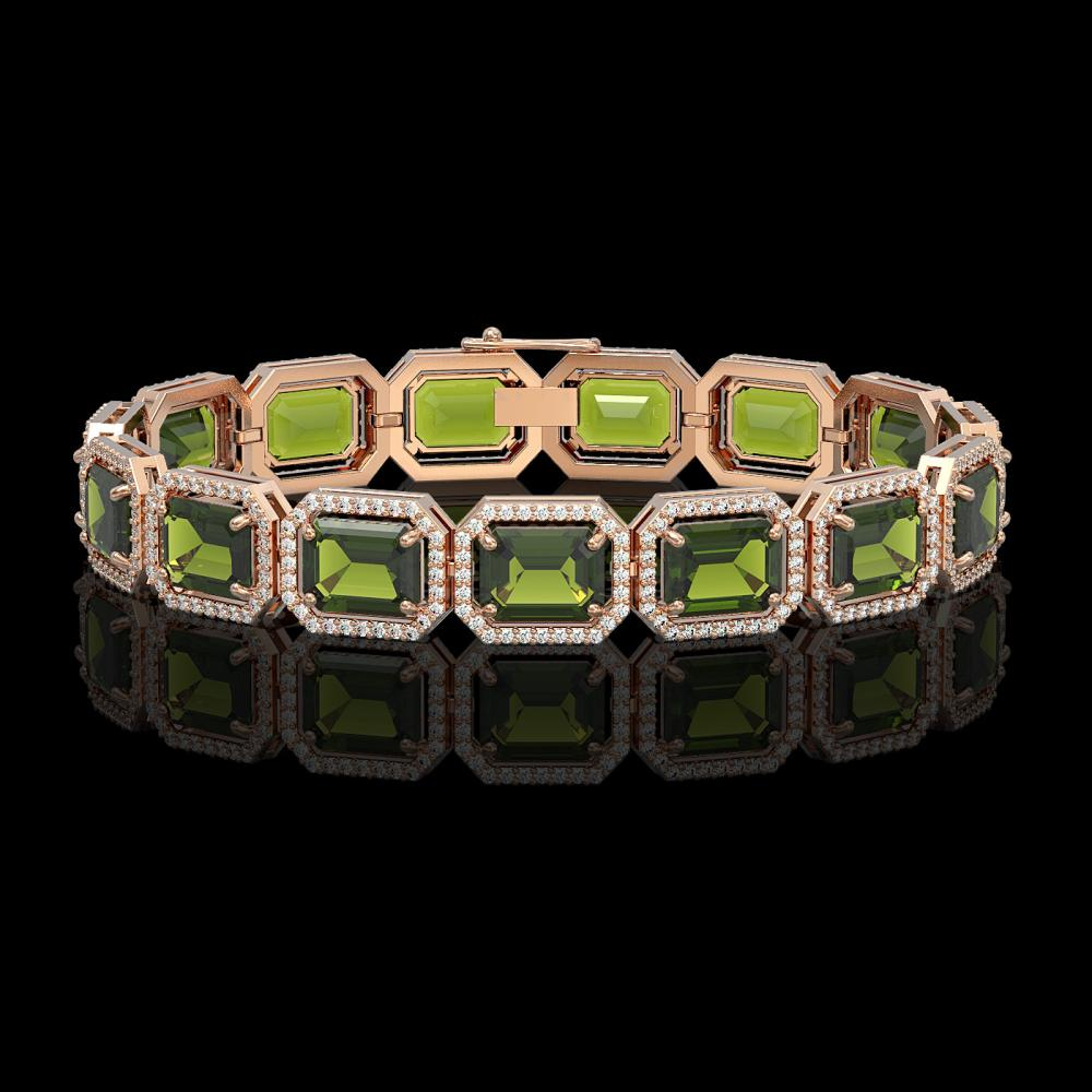 36.51 ctw Tourmaline & Diamond Halo Bracelet 10K Rose Gold - REF-477V3Y - SKU:41544