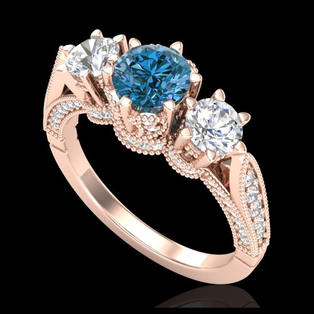 2.18 ctw Intense Blue Diamond Art Deco 3 Stone Ring 18K Rose Gold - REF-254W5H - SKU:38112