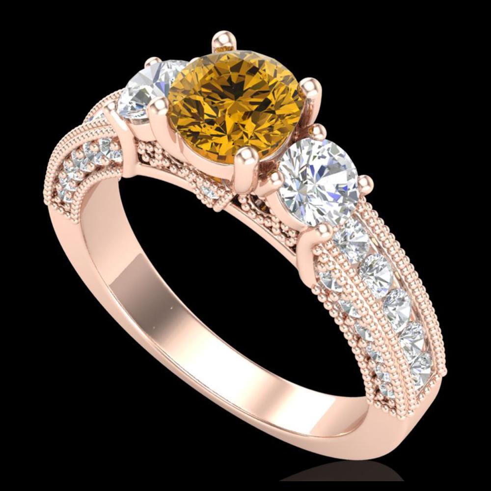 2.07 ctw Intense Fancy Yellow Diamond Art Deco Ring 18K Rose Gold - REF-254K5W - SKU:37785