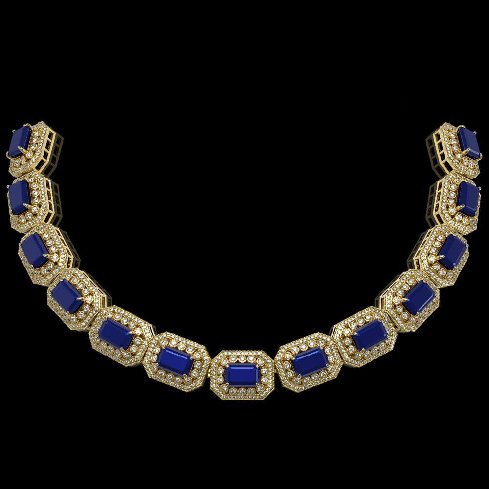 61.92 ctw Sapphire & Diamond Bracelet 14K Yellow Gold - REF-1288X4R - SKU:43492