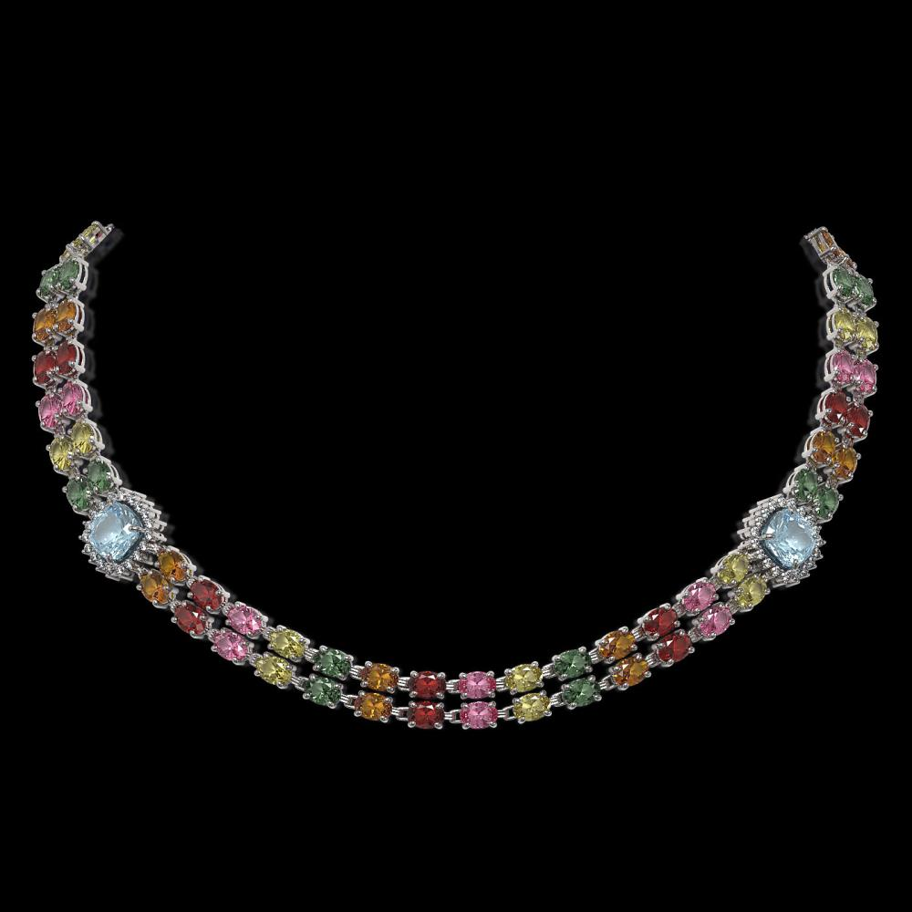 43.35 ctw Sapphire & Diamond Necklace 14K White Gold - REF-520X2R - SKU:44729