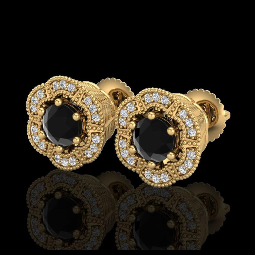 1.51 ctw Fancy Black Diamond Art Deco Stud Earrings 18K Yellow Gold - REF-107A3V - SKU:37963