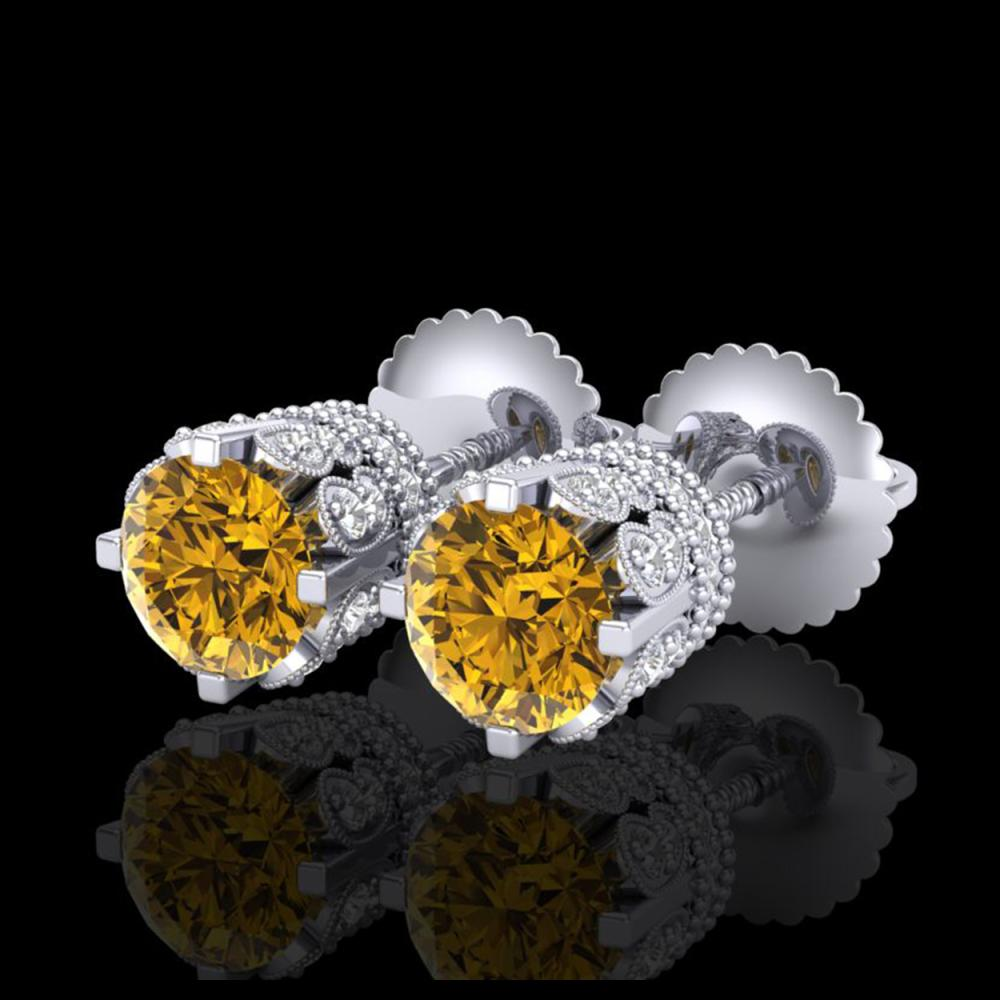 1.75 ctw Intense Fancy Yellow Diamond Art Deco Earrings 18K White Gold - REF-172H7M - SKU:37357