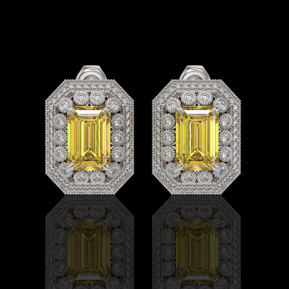 11.03 ctw Canary Citrine & Diamond Earrings 14K White Gold - REF-214F5N - SKU:43427