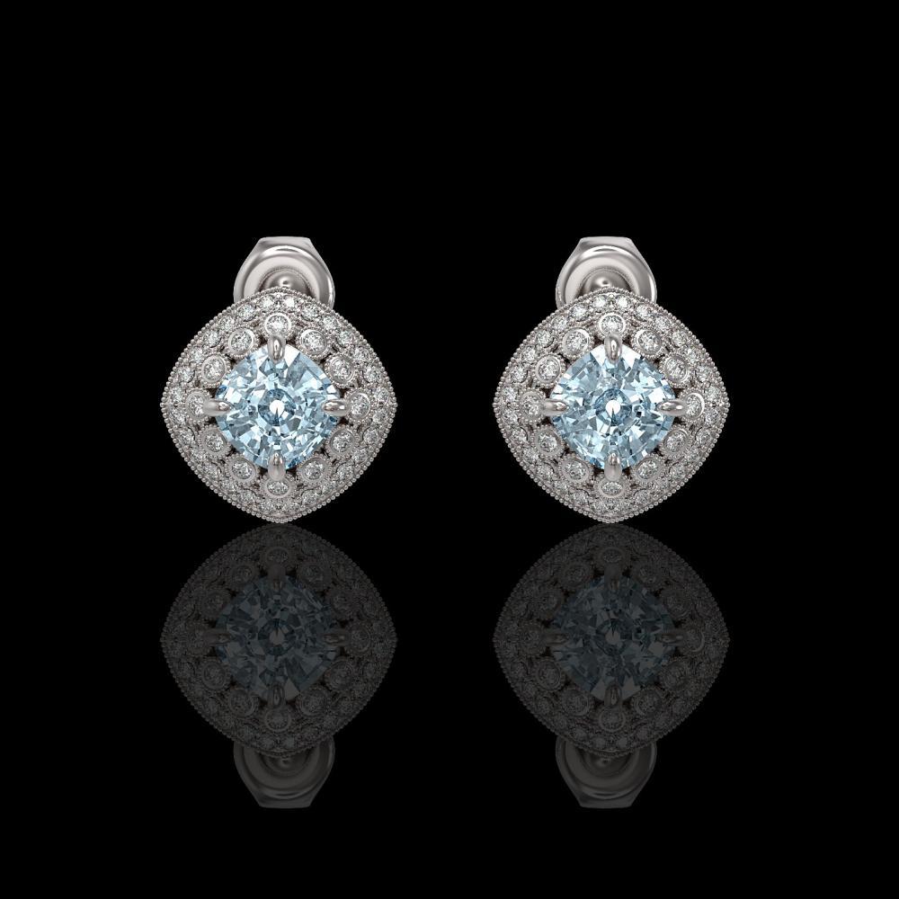 4.39 ctw Aquamarine & Diamond Earrings 14K White Gold - REF-131V8Y - SKU:44132