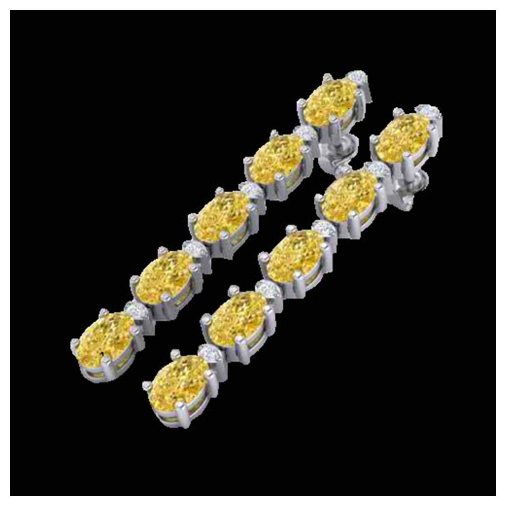 6 ctw Citrine & VS/SI Diamond Tennis Earrings 10K White Gold - REF-44R5K - SKU:21518