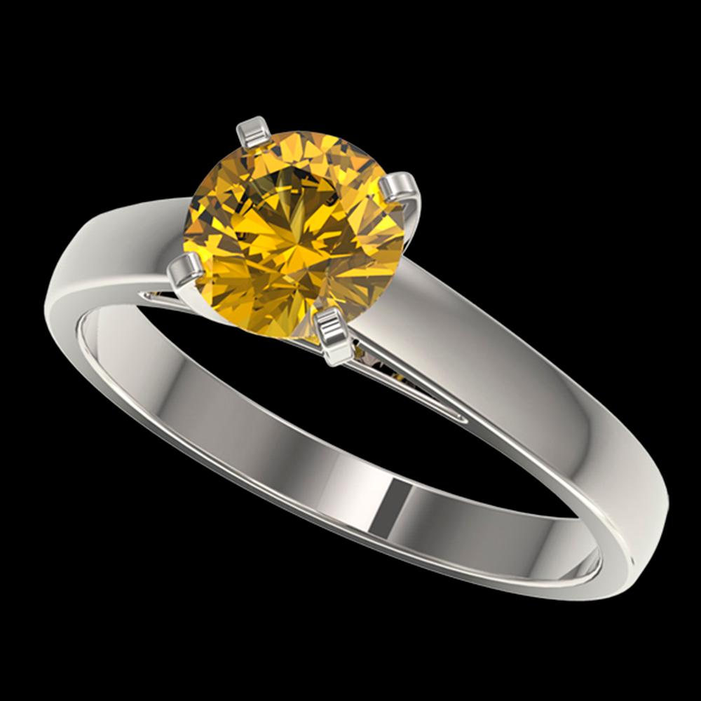 1.29 ctw Certified Intense Yellow Diamond Solitaire Ring 10k White Gold - REF-208R6K