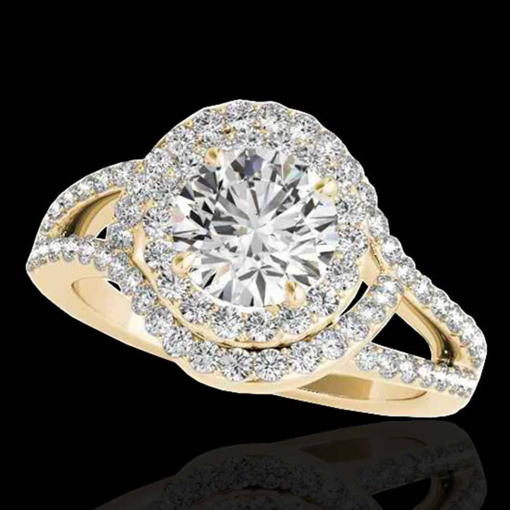 1.9 ctw Certified Diamond Solitaire Halo Ring 10k Yellow Gold - REF-218A2N