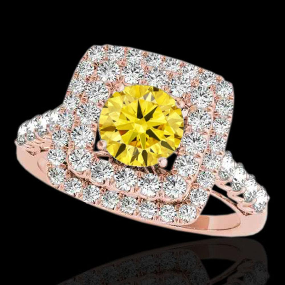 2.3 ctw Certified SI/I Fancy Intense Yellow Diamond Ring 10k Rose Gold - REF-259H3R