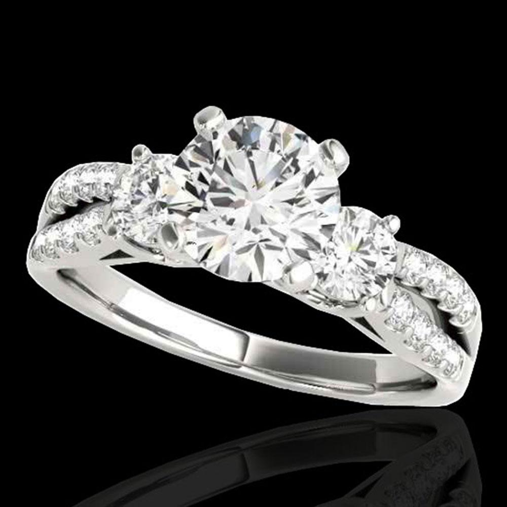 1.5 ctw Certified Diamond 3 Stone Ring 10k White Gold - REF-204F5M