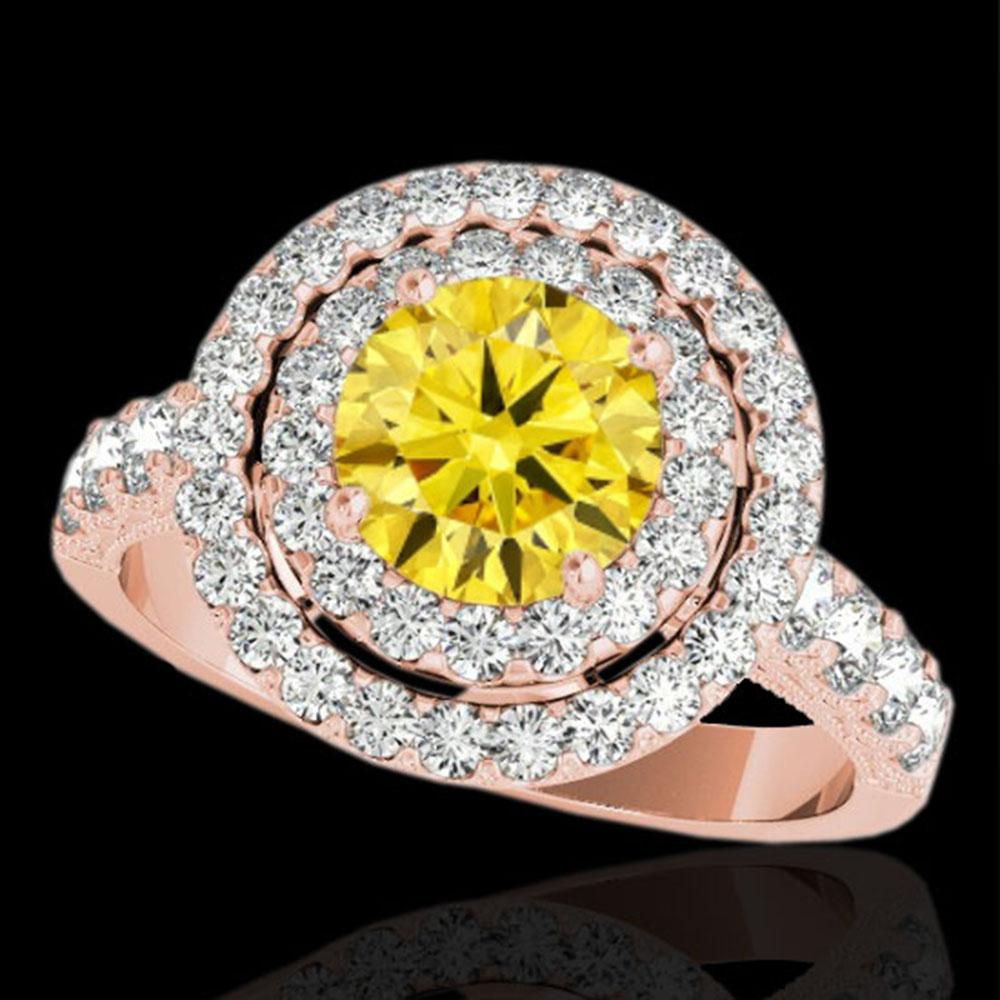 3 ctw Certified SI/I Fancy Intense Yellow Diamond Halo Ring 10k Rose Gold - REF-320W5H
