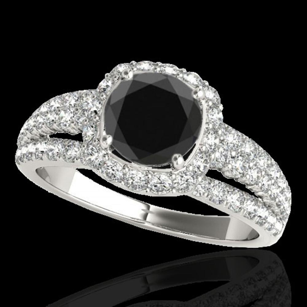 2.25 ctw Certified VS Black Diamond Solitaire Halo Ring 10k White Gold - REF-79Y9X