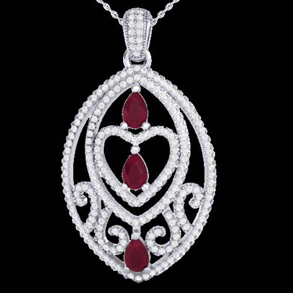 3.50 ctw Ruby & Micro Pave Diamond Heart Necklace 18k White Gold - REF-218H2R