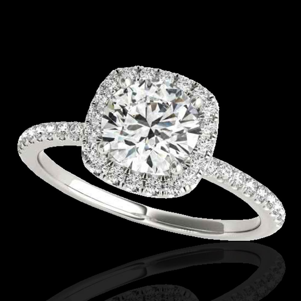 1.5 ctw Certified Diamond Solitaire Halo Ring 10k White Gold - REF-238W6H