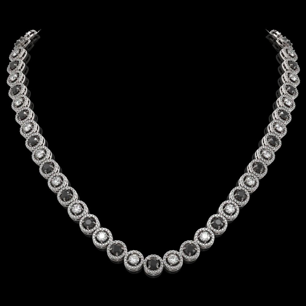 20.35 ctw Black & Diamond Micro Pave Necklace 18K White Gold - REF-1302N5F