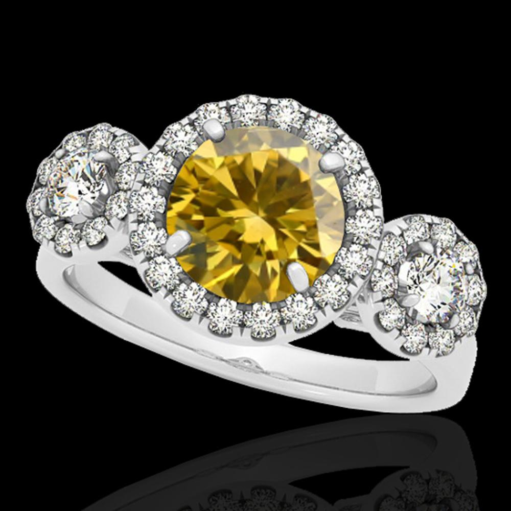 1.75 ctw Certified SI/I Fancy Intense Yellow Diamond Ring 10k White Gold - REF-135M2G