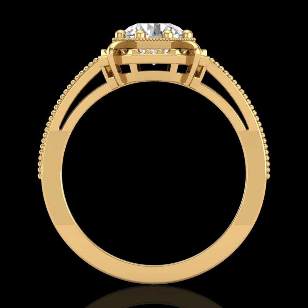 1 ctw VS/SI Diamond Solitaire Art Deco Ring 18k Yellow Gold - REF-318M3G