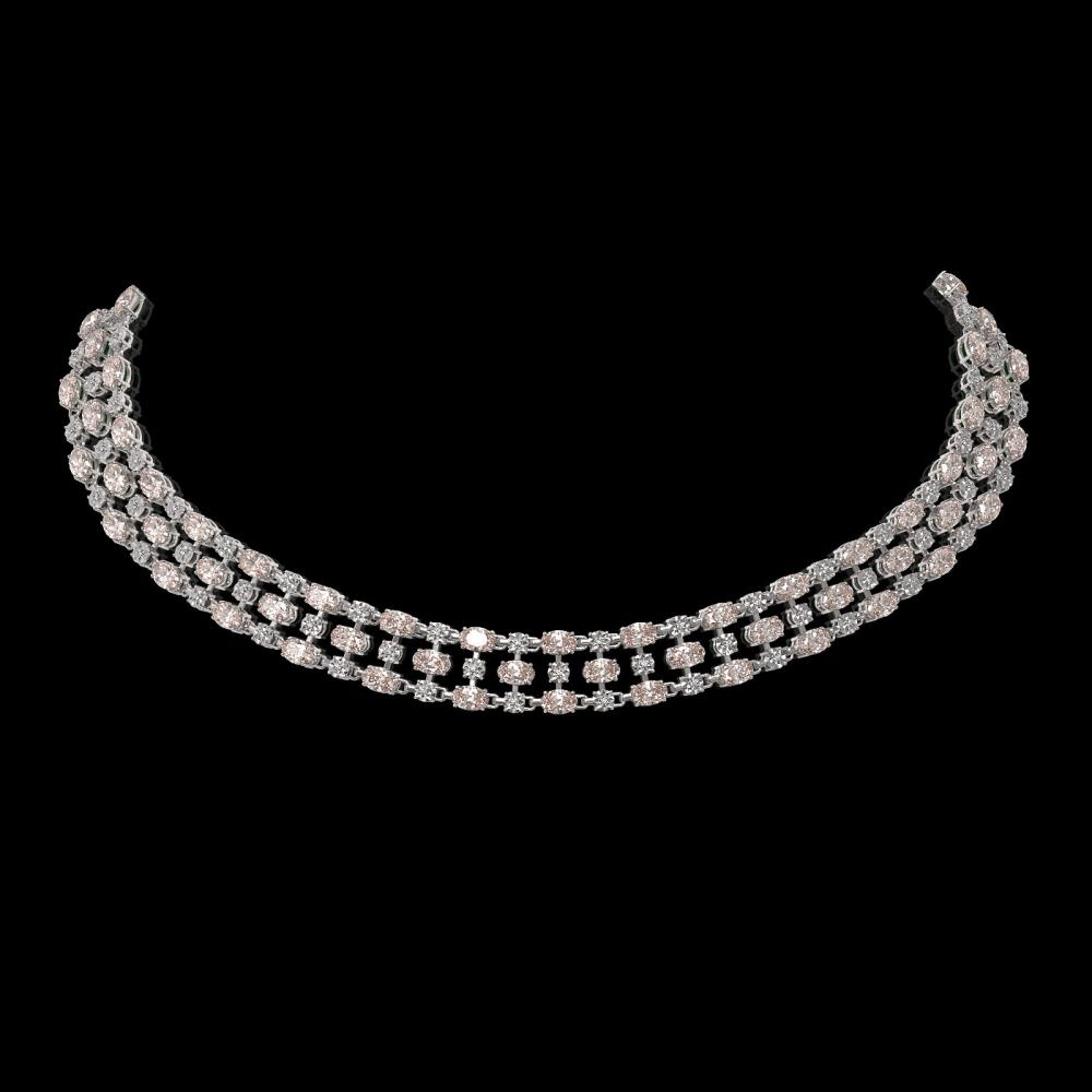 44.45 ctw Morganite & Diamond Necklace 10K White Gold - REF-709A3N
