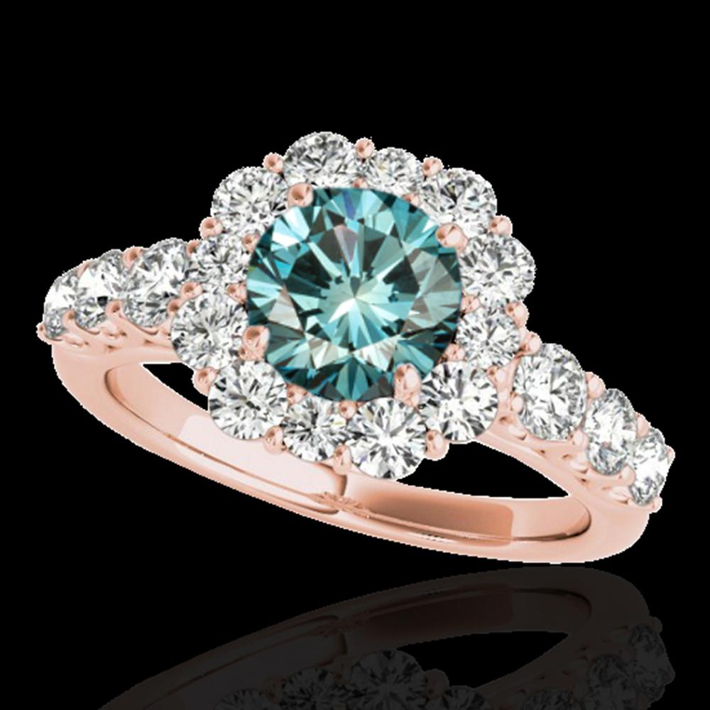 2.25 ctw SI Certified Fancy Blue Diamond Halo Ring 10k Rose Gold - REF-177H3R