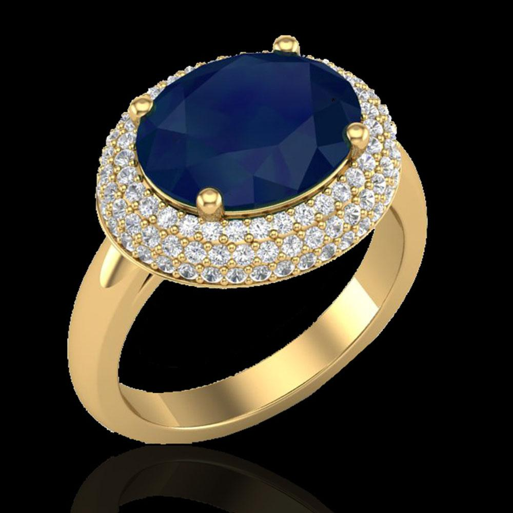 4.50 ctw Sapphire & Micro Pave VS/SI Diamond Ring 18k Yellow Gold - REF-119A6N