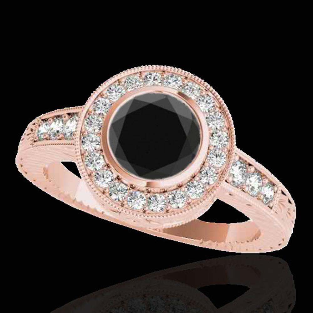 2 ctw Certified VS Black Diamond Solitaire Halo Ring 10k Rose Gold - REF-64M6G