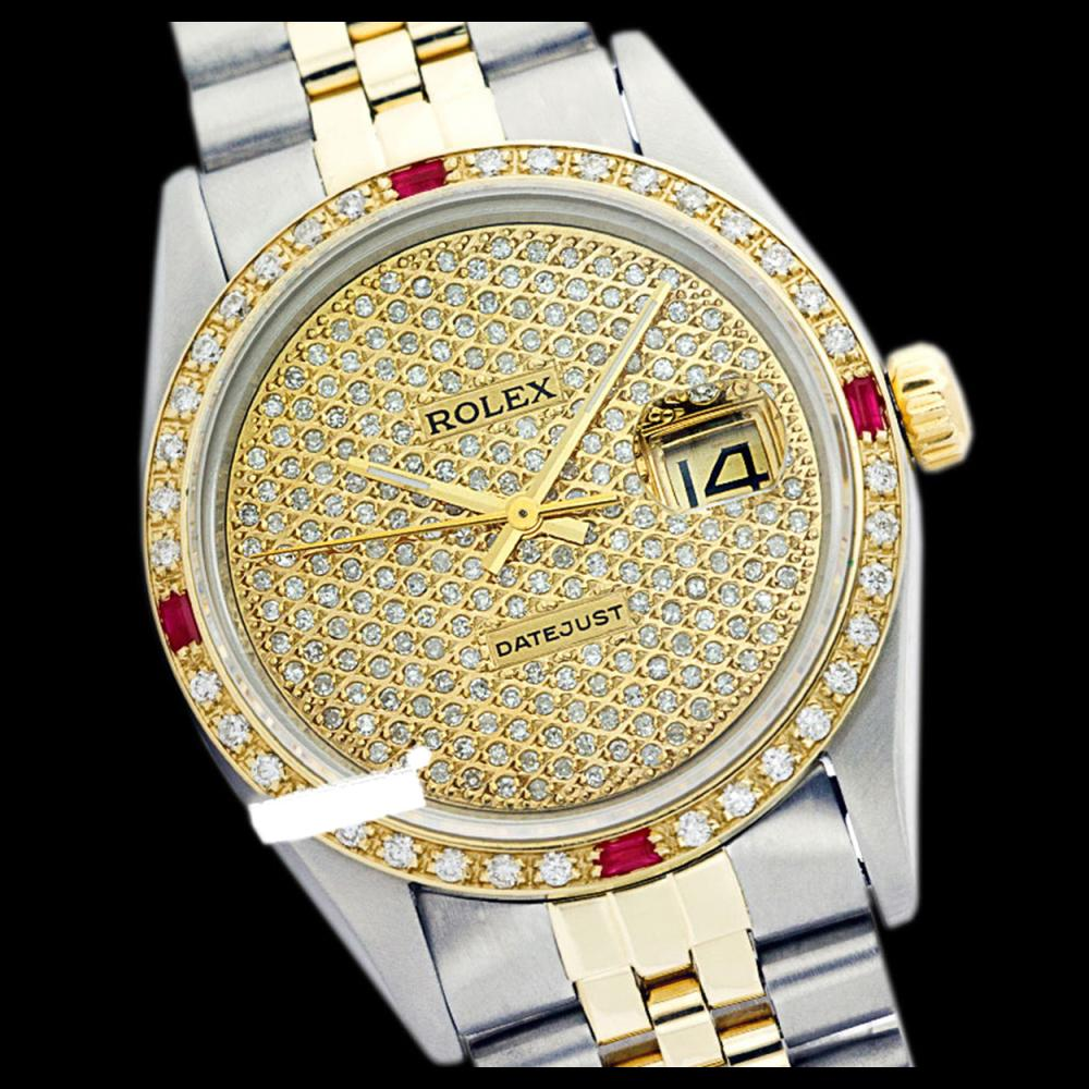 Rolex Ladies Two Tone 14K Gold/SS, Diam Pave Dial & Diam/Ruby Bezel, Sapphire Crystal - REF-497M4F