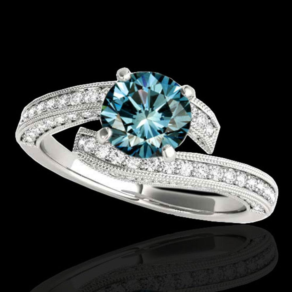 1.75 ctw SI Certified Fancy Blue Diamond Bypass Ring 10k White Gold - REF-135W2H