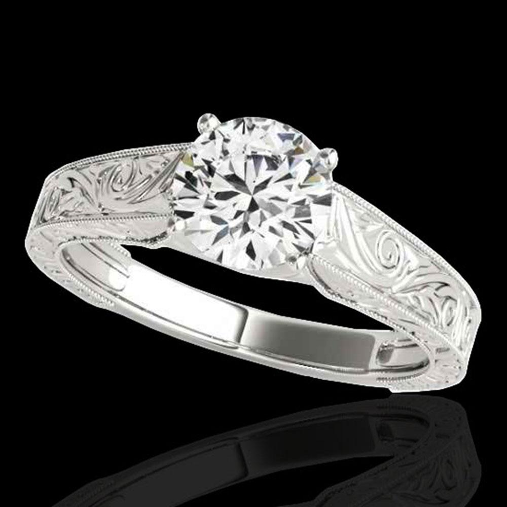 1.5 ctw Certified Diamond Solitaire Antique Ring 10k White Gold - REF-327M3G