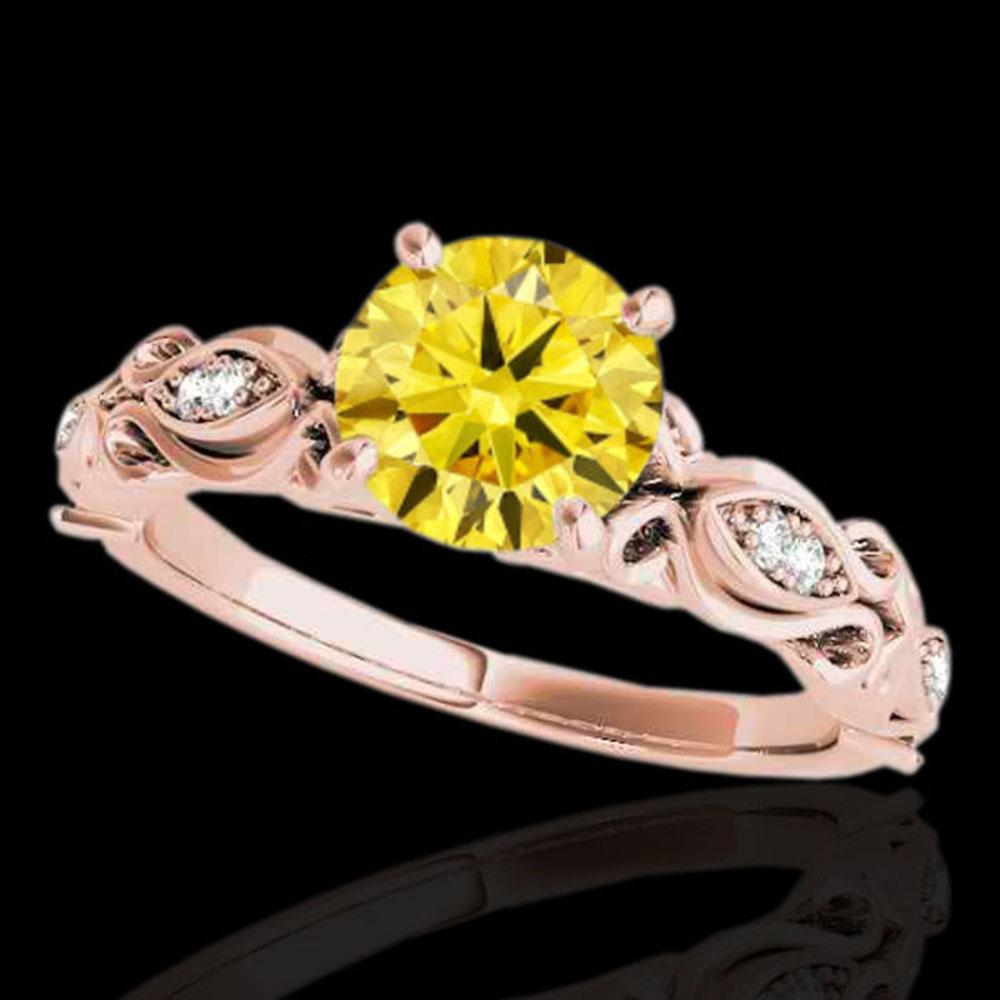 1.1 ctw Certified SI Intense Yellow Diamond Antique Ring 10k Rose Gold - REF-184Y3X